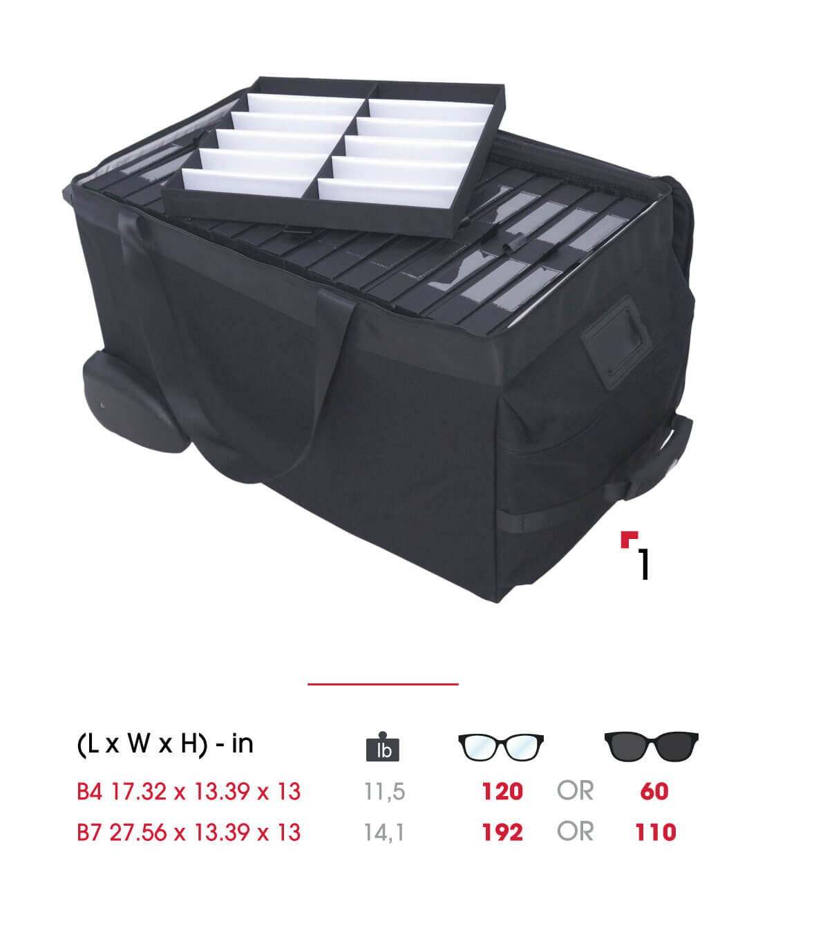 Eyewear bag with optical trays