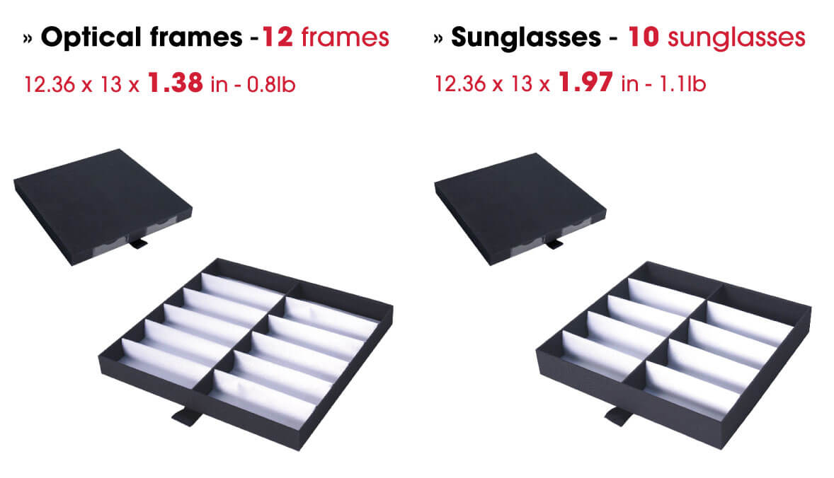 Optical trays for optical frames ans sunglasses