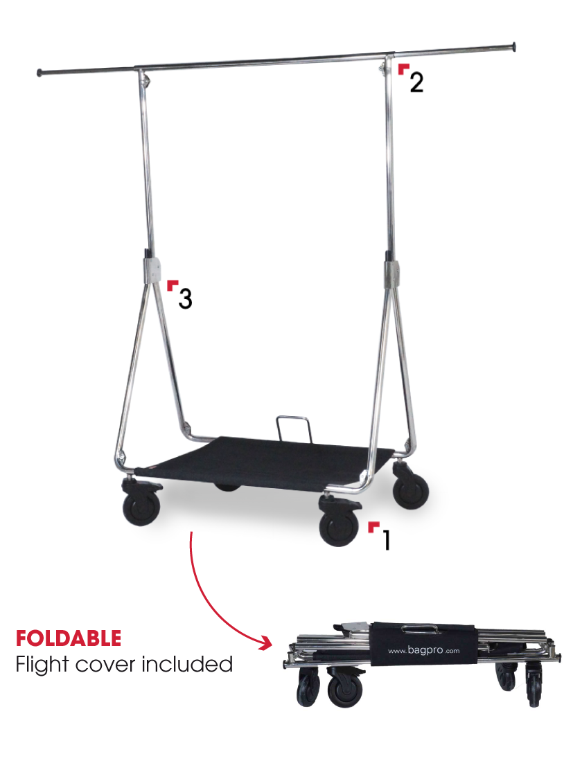 Foldable pro rack for clothes with a flight cover included